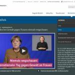 Screenshot Podcast Angela Merkel und taube Gebärdensprachdolmetscherin